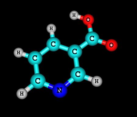 nicotinic: Niacin (B3 or nicotinic acid) is an organic compound with the formula C6H5NO2. Stock Photo