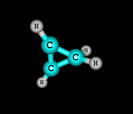 simplest: Cyclopropene is an organic compound with the formula C3H4. It is the simplest cycloalkene. It has a triangular structure Stock Photo