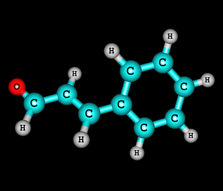 Cinnamaldehyde molecule isolated on black photo