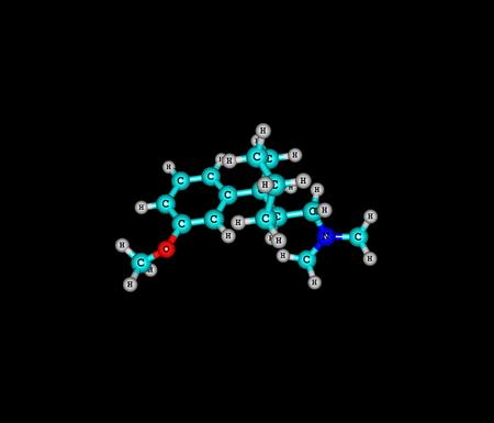opioid: Tramadol molecule isolated on black