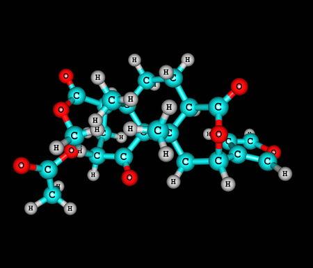 entheogen: Salvinorin molecule isolated on black