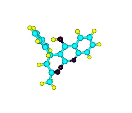 anticoagulant: Warfarina mol�cula aislada en blanco Foto de archivo