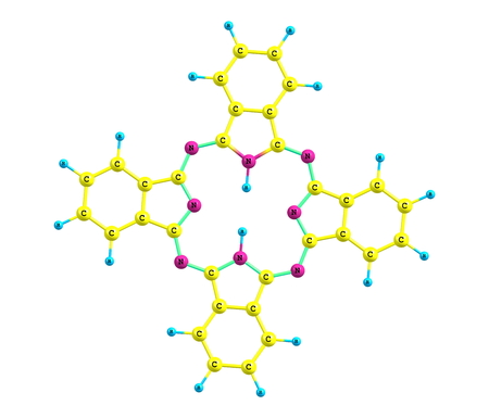 intensely: Phthalocyanine is an intensely blue-green-coloured aromatic macrocyclic compound that is widely used in dyeing
