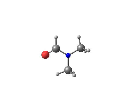 abbreviated: Dimethylformamide (DMF) is an organic compound with the formula (CH3)2NC(O)H. Commonly abbreviated as DMF. This colourless liquid. DMF is a common solvent for chemical reactions Stock Photo