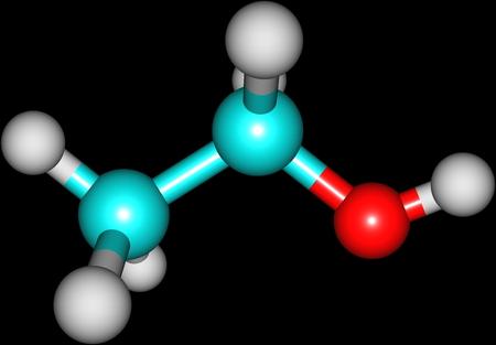 ethanol: Ethanol molecular structure isolated on black