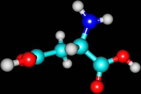 Aspartic acid (Asp) is an amino acid, isolated on black photo