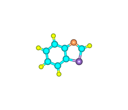 absorption: Benzothiazole is an aromatic heterocyclic compound. It is colorless, slightly viscous liquid. Stock Photo