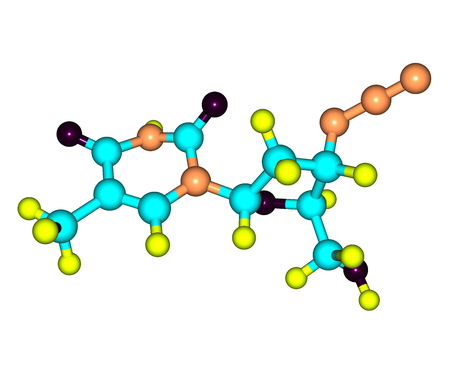 nucleoside: Zidovudine (INN) or azidothymidine (AZT) is a nucleoside analog reverse-transcriptase inhibitor (NRTI), a type of antiretroviral drug used for the treatment of HIVAIDS infection Stock Photo