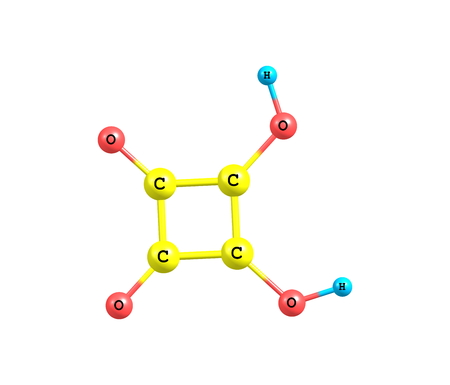 quadratic: Squaric acid (quadratic acid), carbon atoms approximately form a square, is an organic compound with chemical formula C4H2O4 Stock Photo