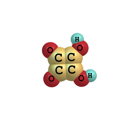 organic compound: Squaric acid (quadratic acid), carbon atoms approximately form a square, is an organic compound with chemical formula C4H2O4 Stock Photo