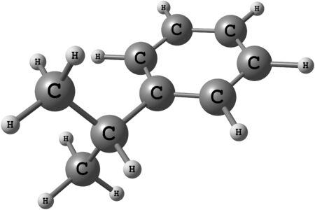 El cumeno es el nombre común para isopropilbenceno, un compuesto orgánico que se basa en un hidrocarburo aromático con una sustitución alifática Foto de archivo - 41651379