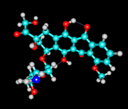 chemotherapy drug: Doxorubicin (Adriamycin) also known as hydroxydaunorubicin is a drug used in cancer chemotherapy and derived by chemical semisynthesis from a bacterial species Stock Photo