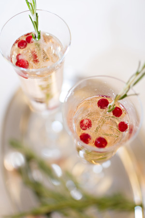 champaigne: Photo of Two cocktail glasses and rosemary branches on tray Stock Photo