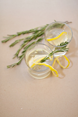 champaigne: Photo of Two cocktail glasses and rosemary branches on a table Stock Photo