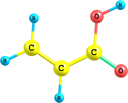 electrolytes: Acrylic acid is an organic compound. It is the simplest unsaturated carboxylic acid, consisting of a vinyl group connected directly to a carboxylic acid terminus Stock Photo