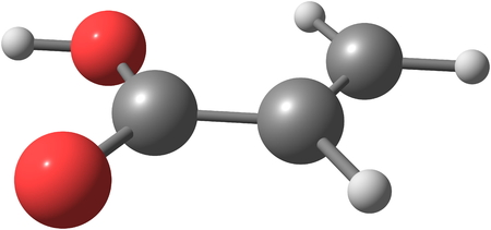 Acrylic acid is an organic compound. It is the simplest unsaturated carboxylic acid, consisting of a vinyl group connected directly to a carboxylic acid terminus Stock Photo