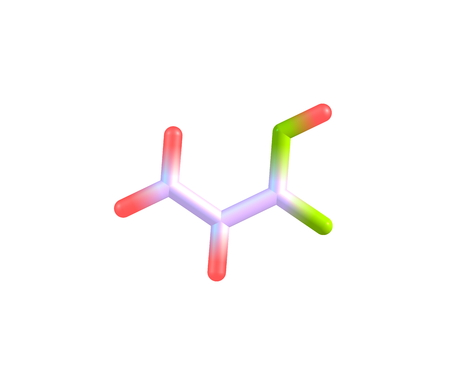 unsaturated: Acrylic acid is an organic compound. It is the simplest unsaturated carboxylic acid, consisting of a vinyl group connected directly to a carboxylic acid terminus Stock Photo