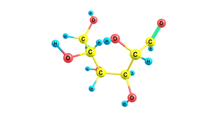 carbohydrates: Mannose is a sugar monomer of the aldohexose series of carbohydrates. Mannose is important in human metabolism, especially in the glycosylation of certain proteins Stock Photo
