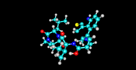 parkinson's disease: Structural model of Bromocriptine, Parlodel or Cycloset. It is an alkoloid derived from ergot and is antagonistic to dopamine. It is used in the treatment of Parkinsons Disease. Stock Photo