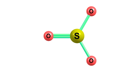 Sulfur trioxide is the chemical compound with the formula SO3. In the gaseous form, this species is a significant pollutant, being the primary agent in acid rain Stock Photo