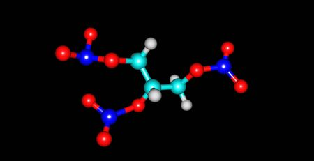 nitroglycerin: Nitroglycerin or trinitroglycerin is a heavy, colorless, oily, explosive liquid Stock Photo