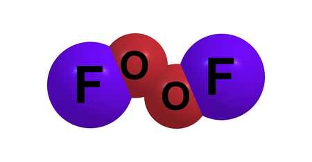 fluorine: Dioxygen difluoride or Fluorine peroxide is a compound of fluorine and oxygen with the molecular formula O2F2 Stock Photo