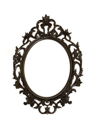 mirror frame: Black metal mirror frame isolated on white background