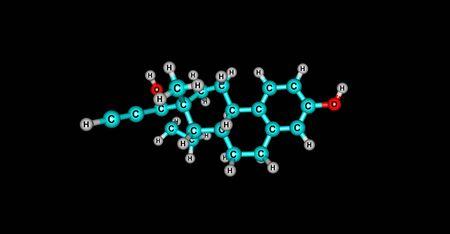 contraception: Ethinyl Estradiol Molecule - womens oral contraception on black