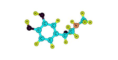 adrenaline: Adrenaline model molecule is primarily a medication and hormone Stock Photo