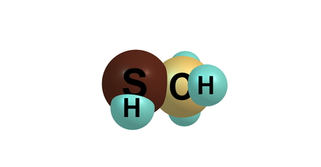 methyl: 3D illustration of Methanethiol or methyl mercaptan. It is an organosulfur compound with the chemical formula CH3SH. It is a colorless gas with a distinctive putrid smell.