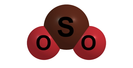 pungent: 3D illustration of Sulfur dioxide or sulphur dioxide. It is the chemical compound with the formula SO2. At standard atmosphere, it is a toxic gas with a pungent, irritating smell.