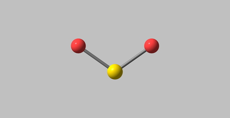 irritating: 3D illustration of Sulfur dioxide or sulphur dioxide. It is the chemical compound with the formula SO2. At standard atmosphere, it is a toxic gas with a pungent, irritating smell.
