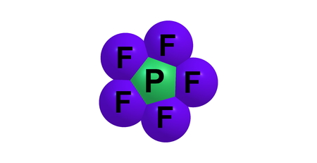 halide: Phosphorus pentafluoride is a phosphorus halide. It is a colourless gas at room temperature and pressure. PD illustration.