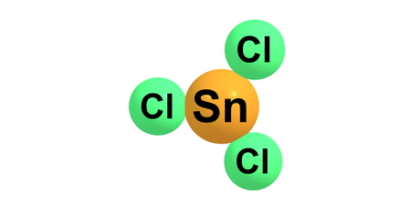 chemical hazard: Tin trichloride is a white crystalline solid. 3d illustration