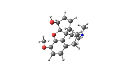 morphine: Codeine is an opiate used to treat pain, as a cough medicine, and for diarrhea. 3d illustration
