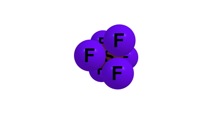 Sulfur hexafluoride is an inorganic, colorless, odorless, non-flammable, extremely potent greenhouse gas which is an excellent electrical insulator. 3d illustration Stock Photo