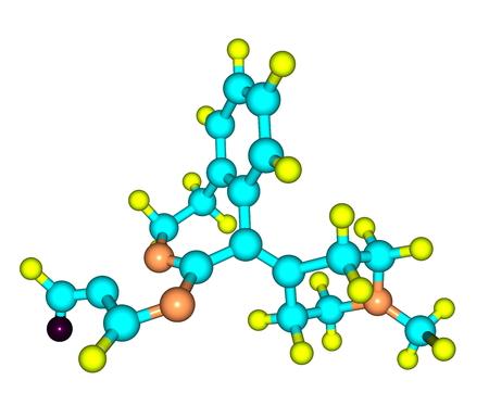 antihistamine: A model of Alcaftadine or Lastacaft, an antihistamine drug. 3d illustration