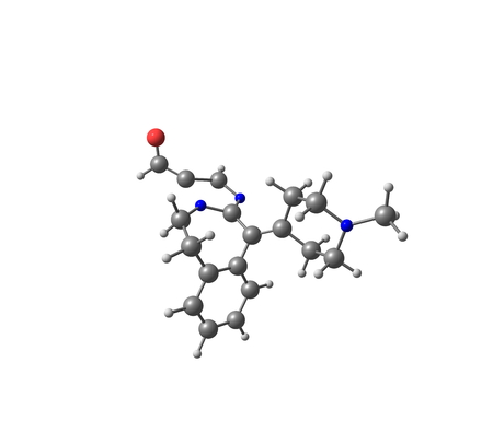 organic chemistry: A model of Alcaftadine or Lastacaft, an antihistamine drug. 3d illustration