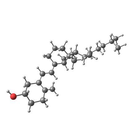 molecular model: A molecular model of the hormonally active form of Vitamin D3 - Calcitriol, Rocaltrol or Calcijex. 3d illustration Stock Photo
