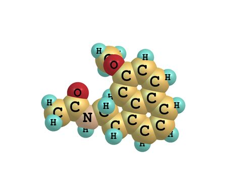 molecular model: A molecular model of Agomelatine - Valdoxan, Melitor or Tymanax - used to treat major depression. 3d illustration Stock Photo