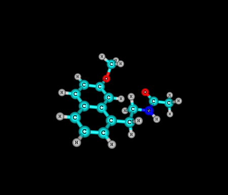 major depression: A molecular model of Agomelatine - Valdoxan, Melitor or Tymanax - used to treat major depression. 3d illustration Stock Photo