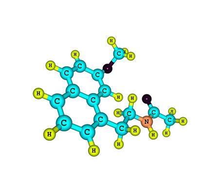 major depression: A molecular model of Agomelatine - Valdoxan, Melitor or Tymanax - used to treat major depression. 3d illustration Stock Photo