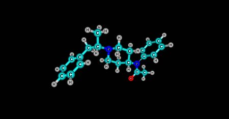 anaesthesia: Methylacetylfentanyl or alphamethylacetylfentanyl is an opioid analgesic that is an analog of fentanyl. 3d illustration