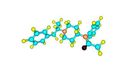 Methylacetylfentanyl ou alphamethylacetylfentanyl est un analgésique opioïde qui est un analogue du fentanyl. 3d illustration