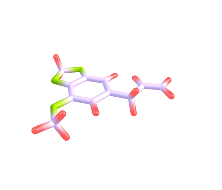 organic compound: Myristicin is a phenylpropene, a natural organic compound present in small amounts in the essential oil of nutmeg and to a lesser extent in other spices such as parsley and dill. 3d illustration