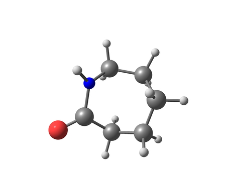 compound: Caprolactam is an organic compound. This colourless solid is a lactam or a cyclic amide of caproic acid. 3d illustration