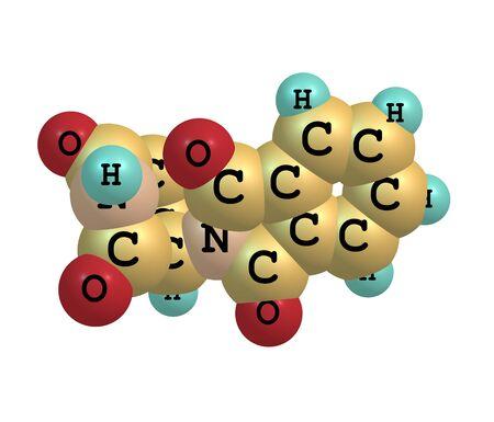 lepra: Actualmente se comercializa bajo los nombres de marca Immunoprin, Talidex, Talizer, talidomida es un f�rmaco inmunomodulador y el prototipo de la clase de drogas talidomida, ilustraci�n 3d Foto de archivo
