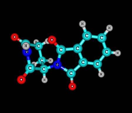 lepra: Actualmente se comercializa bajo los nombres de marca Immunoprin, Talidex, Talizer, talidomida es un fármaco inmunomodulador y el prototipo de la clase de drogas talidomida, ilustración 3d Foto de archivo