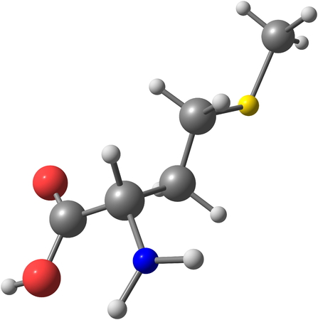3d nitrogen: A model of a molecule of methionine, an essential amino acid. Amino acids are the building blocks of proteins and have many functions in metabolism. 3d illustration Stock Photo