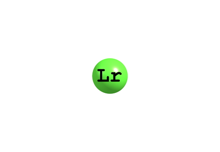 atomic symbol: Lawrencium is a radioactive synthetic chemical element with the symbol Lr and atomic number 103. 3d illustration Stock Photo